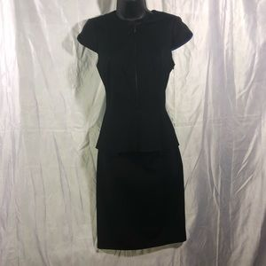 Elie Tahari Lanetta Front Zip Peplum Black Dress